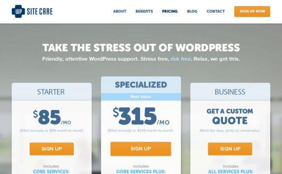 WP Site Care Plans Page